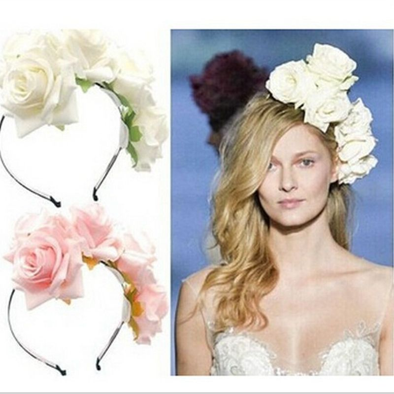 Blomsterkrans Blomma Crown Headband Handgjorda Stora Rose Hair Garland Women Hair Tillbehör Wedding Headpiece 6 färger
