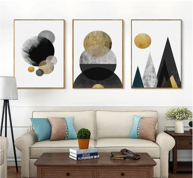 Nordic abstract gold line art pattern decorative paintings 3 pieces canvas paintings wall art decoration pictures