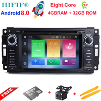 IPS Android 8.0 car dvd player for Jeep Dodge Chrysler Series gps navi with radio BT RDS mirror link RDS Camera support DAB+