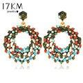 2014 Colorido Luxo Bohemia Retro Romântico Lindo Elegante Oco Brilhante Rhinestone Rodada Beads Brincos para as mulheres M11
