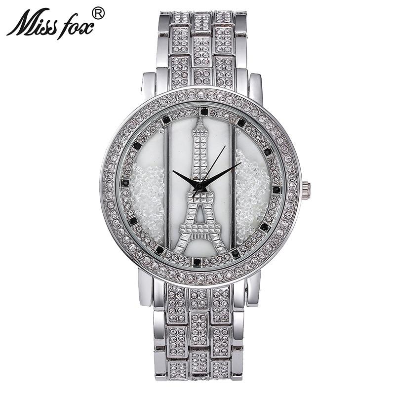 Miss Fox Paris tour Eiffel décoration femmes montre de mode marque antichoc étanche montre argent strass Effel Reloj Mujer