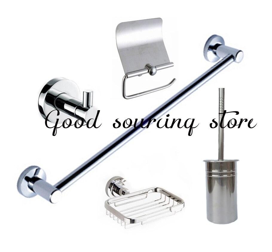 Ensemble de salle de bain en acier inoxydable cinq pièces (porte-papier, porte-savon, crochet pour peignoir, porte-serviettes, porte-brosse de toilette)