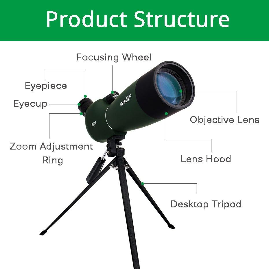 Svbony SV28 50/60/70mm longue-vue Zoom télescope étanche montre à oiseaux chasse monoculaire et universel adaptateur de téléphone optique pour la chasse, le tir, le tir à l'arc, l'observation des oiseaux - 2