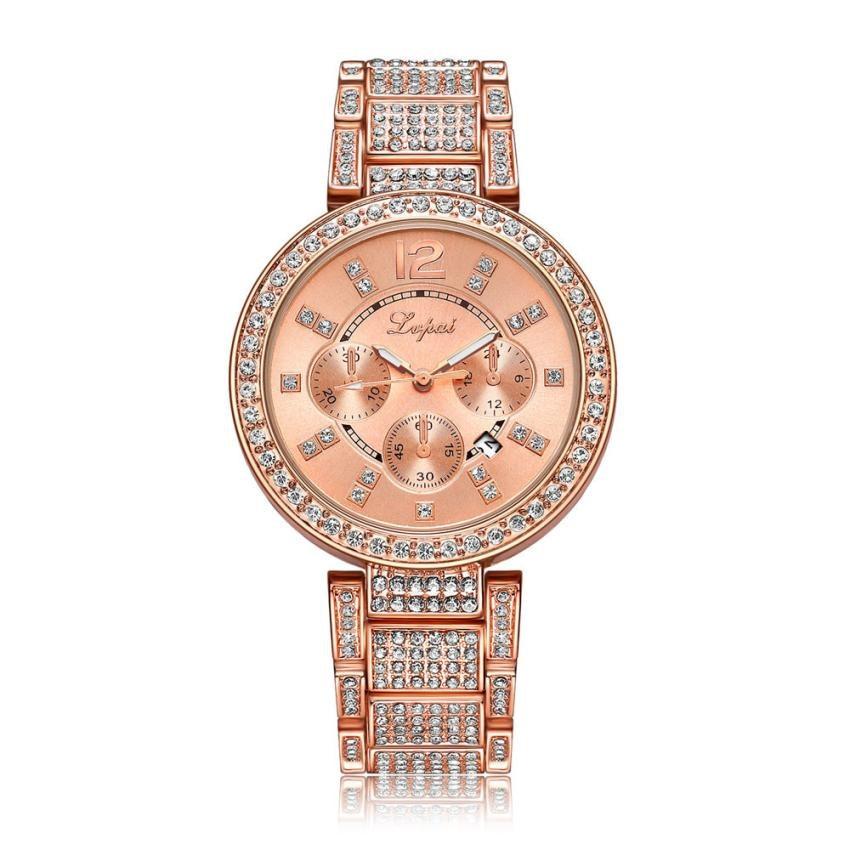 LVPAI Top Brand Luxury Diamond 3 Eyes Unisex Watches Women Fashion Watch 2017 Gift Stainless Steel Metal Watch Bracelets Relogio 2649 butterfly diamond winding watch fashion bracelets