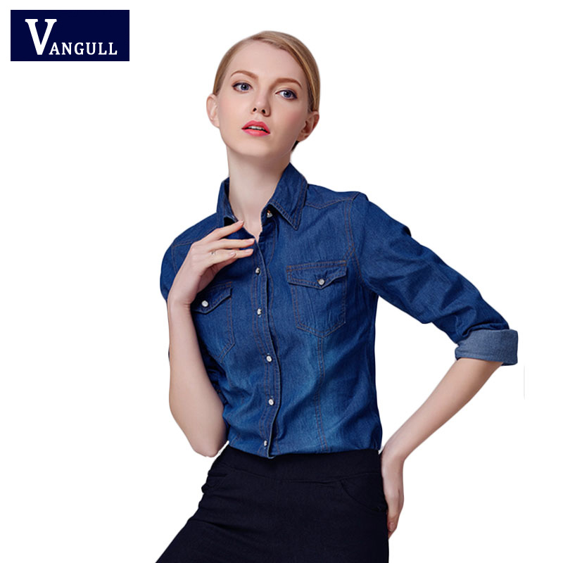 2016 new denim shirt women long sleeve turn down collar for Blue denim shirt for womens