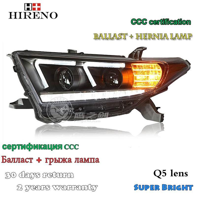 Hireno Headlamp for 2012-2014 Toyota Highlander Headlight Assembly LED DRL Angel Lens Double Beam HID Xenon 2pcs
