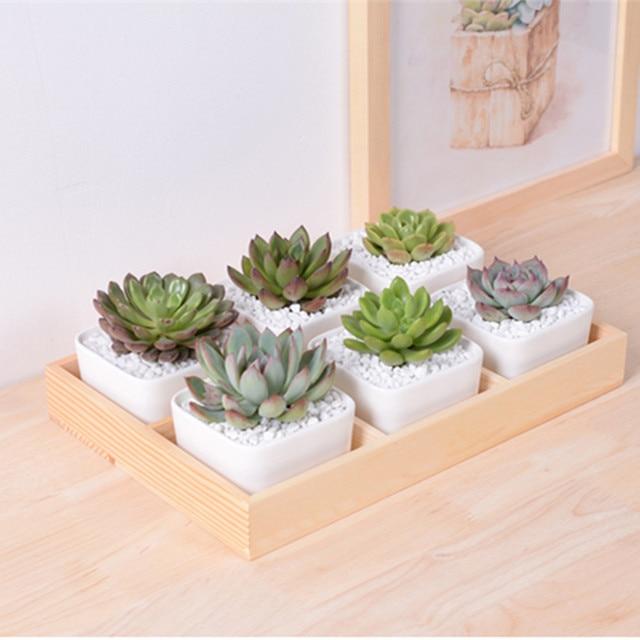 Pretty Originality Stitching Ceramic Garden Pot Planter Cute Succulent  Plants Flower Pot With Pine Wood Tray
