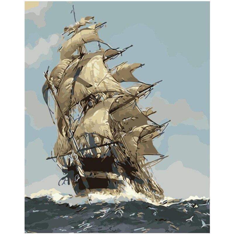 Pintura Por Números DIY Dropshipping 40x50 50x65cm Marinha vela veleiro Still life Canvas Decoração Do Casamento retrato da arte Do Presente