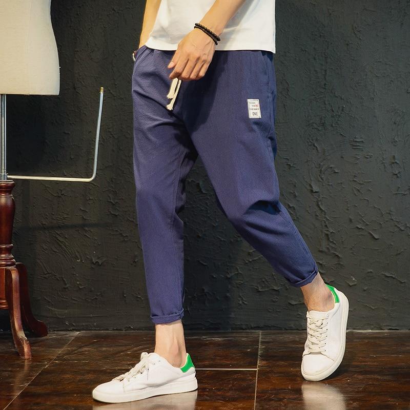 Cotton Leisure cargo linen track jogger compression Pants men military style Fold Flax Male pantalon homme rompers hip hop