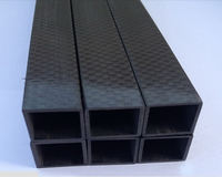 EMS Free Shipping 15X15X13X600mm High Strength Glossy 3K Carbon Fiber Fabric Square Tubes