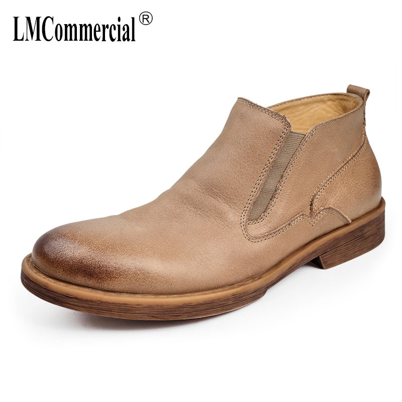 Chelsea boots men new autumn winter British retro Genuine leather men's Martin boots male high shoes cowhide all-match martin boots men s high boots korean shoes autumn winter british retro men shoes front zipper leather shoes breathable