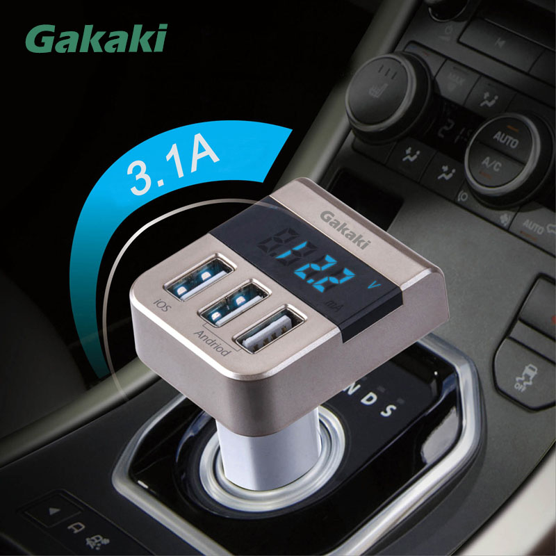 Gakaki Universal Mobile <font><b>Phone</b></font> Car Usb Fast Charger 3-Port Car-Charger Digital LCD Voltage Detector For Iphone 6 6S 7 sumsung