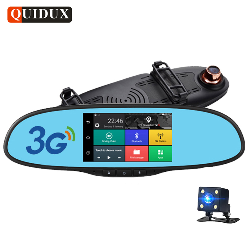 QUIDUX 5.0 inch Full HD 1080P Car DVR 3G Android GPS Navigation Bluetooth dash cam Dual Lens automobile rearview mirror camera kkmoon 7 car dvr 3g wifi rearview mirror dual lens recorder camera full hd 1080p dash cam android 5 0 gps registrar navigation