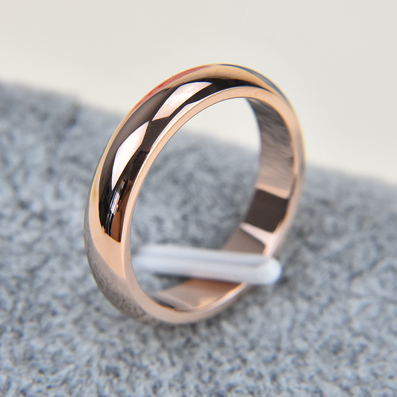High Quality Rose Gold Color 5mm Brand Rings For Women Men Wedding Lovers Rings Rose Gold Fine Jewelry