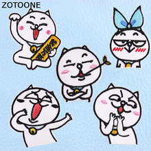 ZOTOONE Funny Cartoon Cat Patches Embroidered Iron on for Clothing DIY Motif Stripes Clothes Stickers Animal Badge E