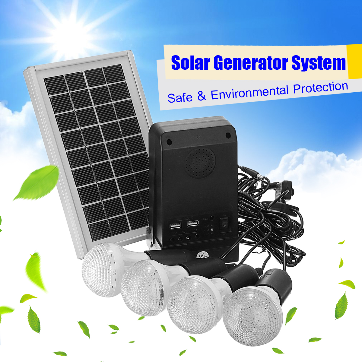 Solar Panel Solar Powered 3W With 4 LED Bulbs System 7.4V 2200mAH Lithium Battery Controller Indoor Outdoor Home Protection