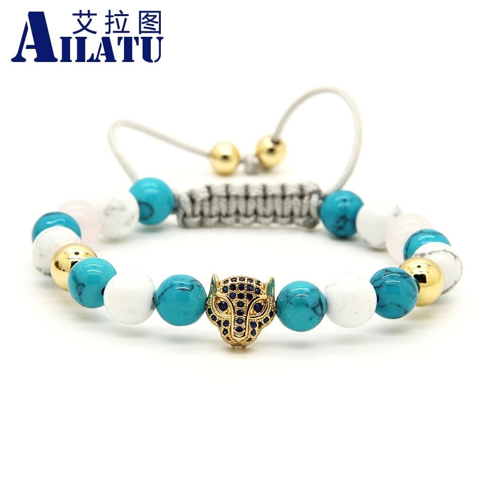 Ailatu Fashion CZ leopard Head Braided Bracelet 8mm Howlite Stone European American Style Weaved Jewelry Animal Shape