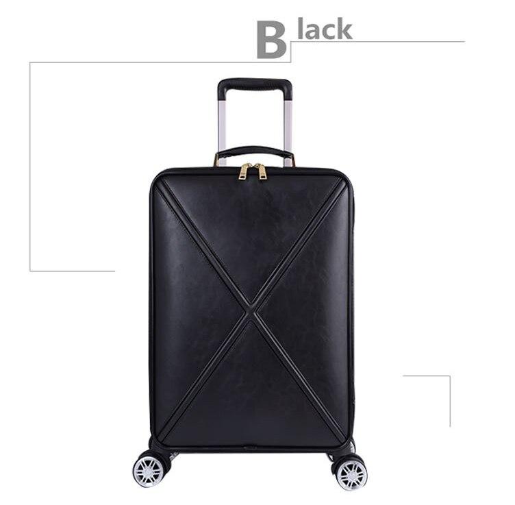 Модный чемодан на колесах с сумочкой в комплекте для женщин; классические деловые Дамский чемодан Спиннер посадки 16/18/20/24 дюйма, сумка для путешествий - Цвет: Black(single)