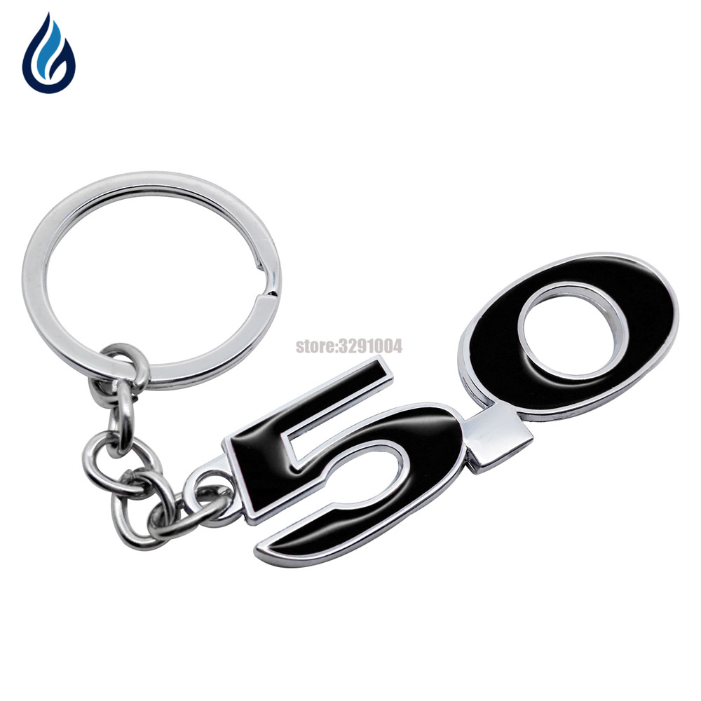 Metal Red Black 5.0 Emblem Car KeyChain Keyring Key Rings Fit For Ford Mustang GT V8 COYOTE 5.0 Key Chain Car Accessary