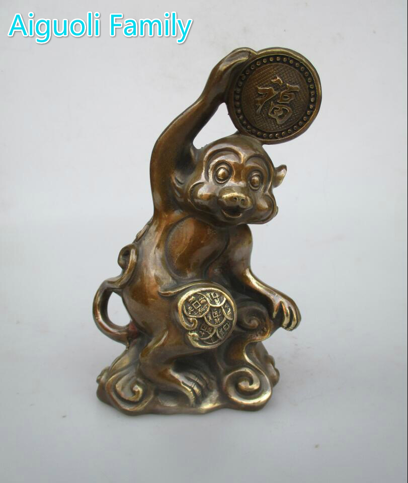 Wedding Decorations/Art Collection Chinese Old Copper Carved Lucky Monkey Sculpture/Home Decoration Metal Animal StatueWedding Decorations/Art Collection Chinese Old Copper Carved Lucky Monkey Sculpture/Home Decoration Metal Animal Statue