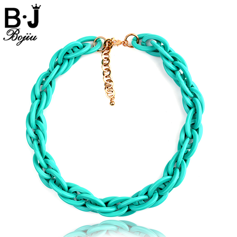 BOJIU Noble Chain Plastic Resin Links Choker Necklace For Women Exquisite Fashion Link Chain Accessories Collar hembra NKS075