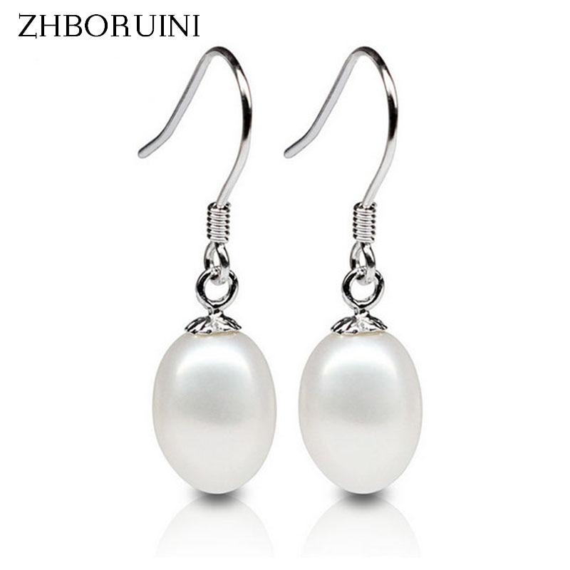 ZHBORUINI 2019 Fashion Pearl Earrings Pearl For Women 8-9mm Bright Light Water Drop Freshwater Pearl Silver Earrings Jewelry