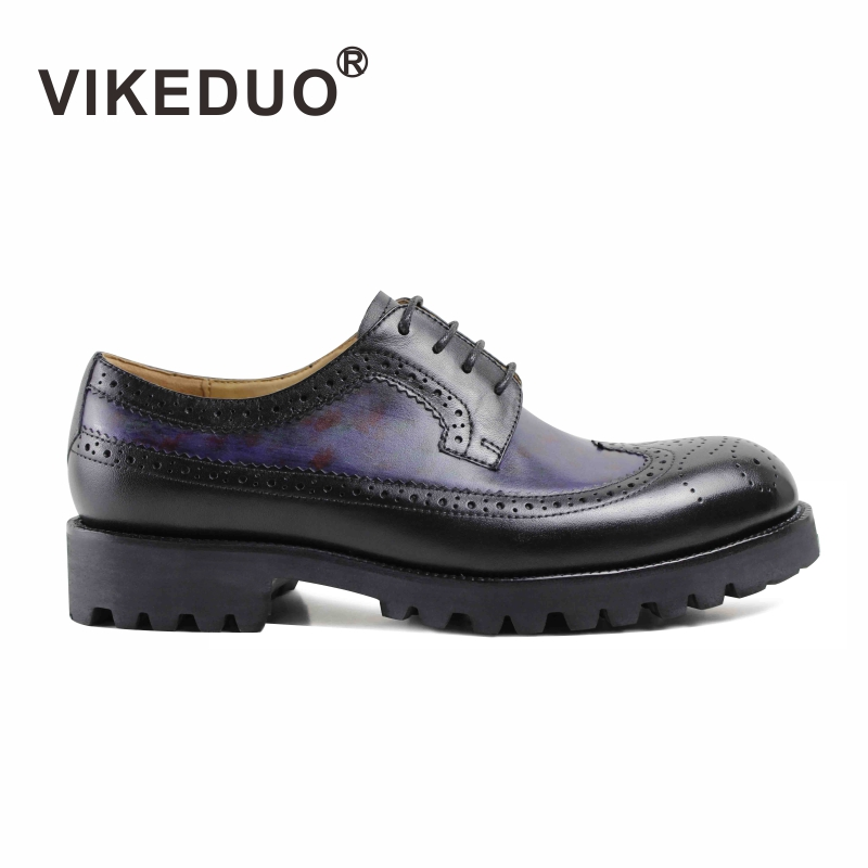 VIKEDUO 2018 Custom Made Genuine Leather Shoes Fashion Party Wedding Dress Shoe Lace Up Original Design Classic Men Derby Shoes 2017 vintage retro custom men flat hot sale real mens oxford shoes dress wedding party genuine leather shoes original design