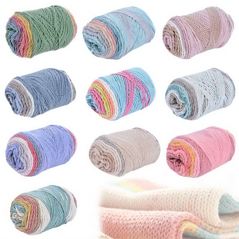 Natural Soft Silk Milk Cotton Yarn Wool Weave Thread DIY Sweater DIY Handmade Knitted Baby Sweater Hat Scarf Sofa Cushion Yarn