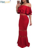 HAOYUAN Women Sexy Elegant Formal Party Dresses Red Ruffle Off Shoulder Backless Pencil Dress Summer Bodycon