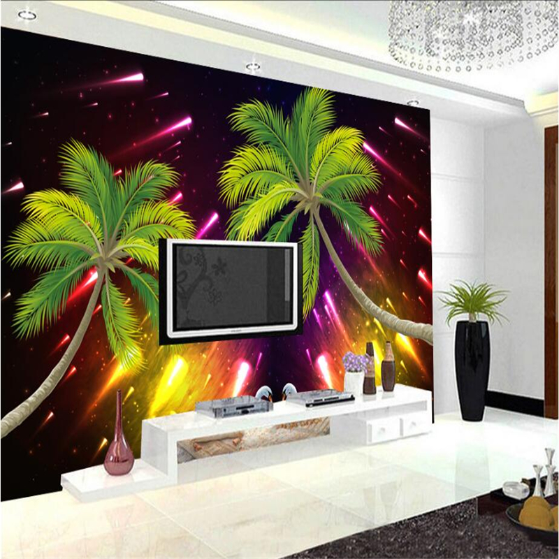 3d Wallpaper Mural Custom Meteor Shower Coconut Swan Photo Wallpaper Modern 3d Wallpaper for Living Room Bedroom Study Kitchen
