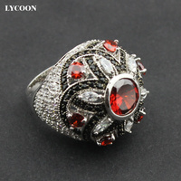 Unique Luxury Design Zircon Rings AAA Top Quality Zircon With Red Crystal For Woman S Ring