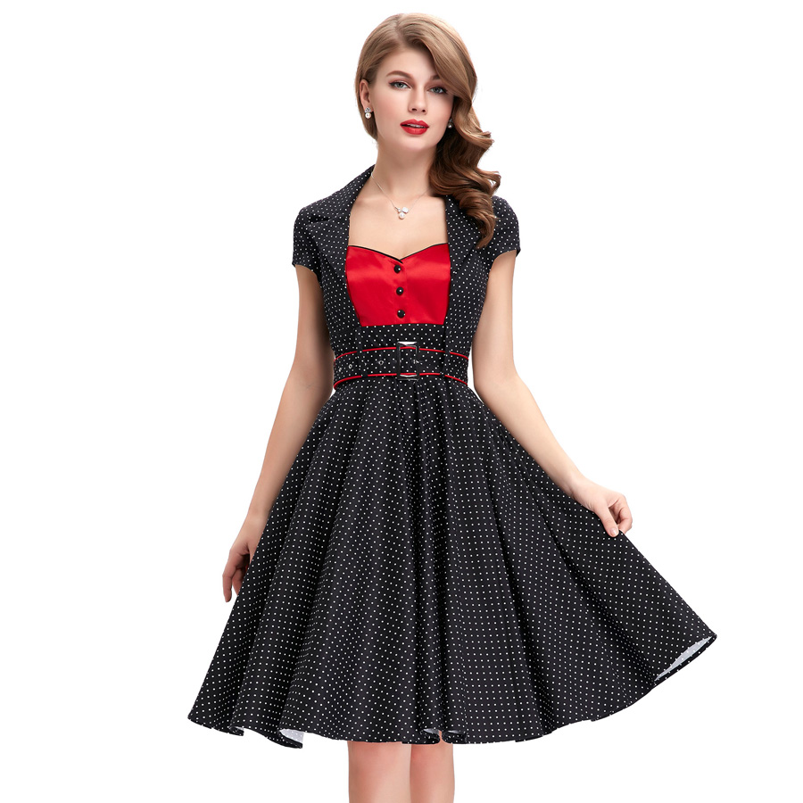 foto de 50s Vintage Polka Dot Dress 2016 belle poque summer women sweetheart Pin Up Vestidos robe de