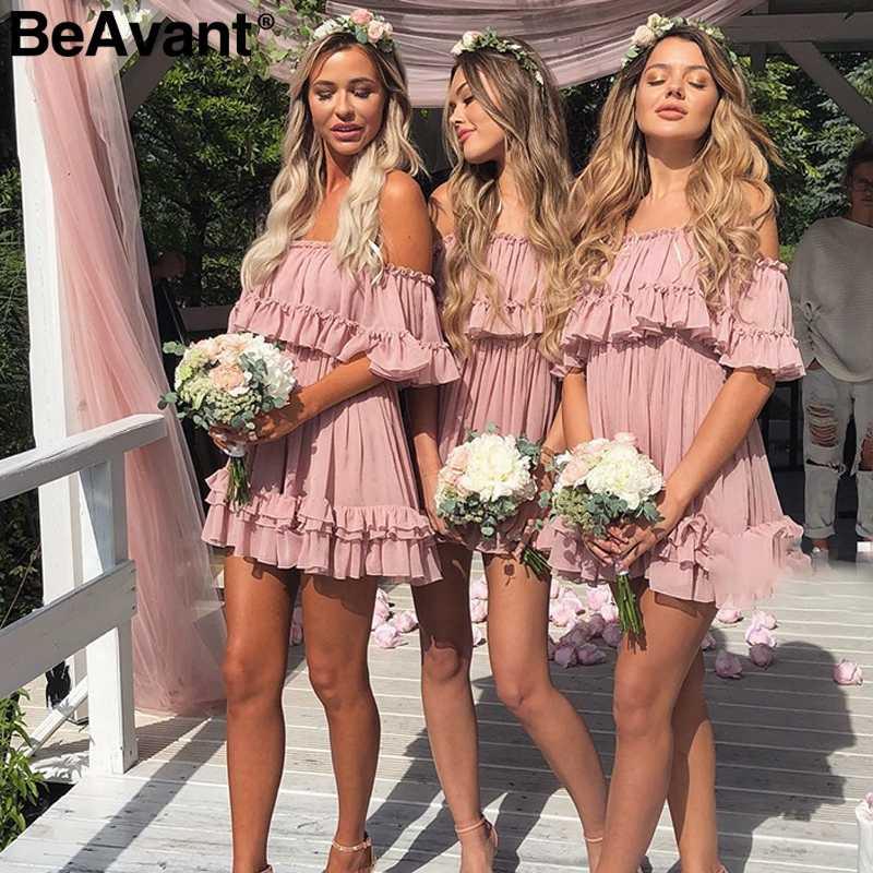 BeAvant Kapalı omuz askısı şifon yaz elbiseler Kadınlar fırfır pilili kısa elbise pembe Zarif tatil gevşek plaj mini elbise
