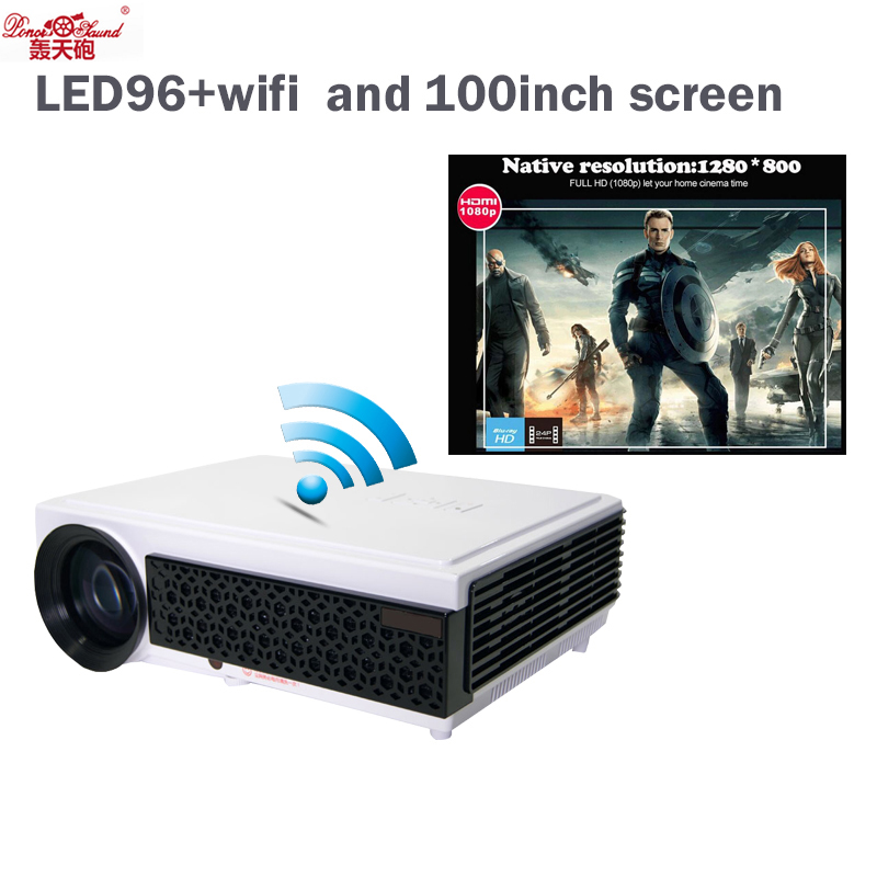 "Poner Saund Full Hd New Mini Projector Proyector Led Lcd: Poner Saund Gift 100"" Screen Full HD 1080P 5500Lumens Led"