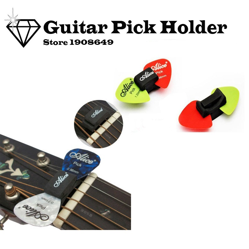 US $0 31 11% OFF|1pc New Guitar HeadStock Pick Holder Rubber +2 FREE Picks  Alice Guitar Picks pickup Musical Instrument~GM167-in Guitar Parts &