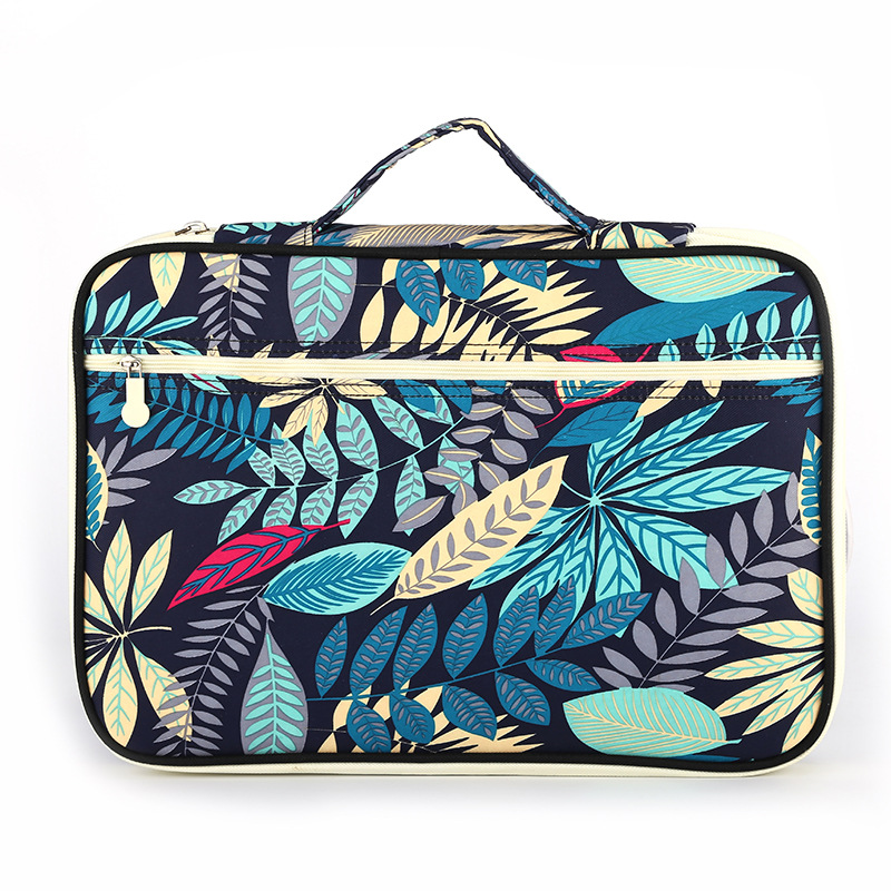 JUKUAI 1 Pcs Multi-functional A4 Document Bags Embroidery Waterproof Oxford Cloth Storage Bag For Notebooks Pens iPad Computer