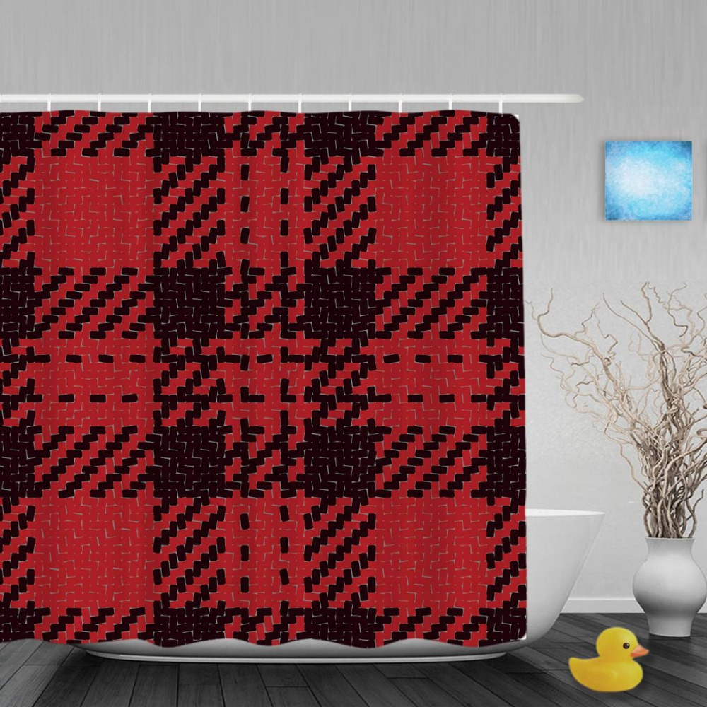 Red patterned curtains - Seamless Knitting Pattern Decor Bathroom Shower Curtains Red Black Grid Shower Curtain Waterproof Polyester Fabric With