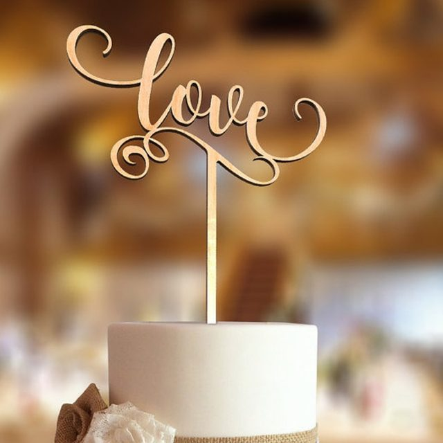 Online shop love wooden wedding cake topperwedding decorations love wedding cake topper customized acrylic rustic wedding cake topper personalized cake topper with wooden silver junglespirit Choice Image