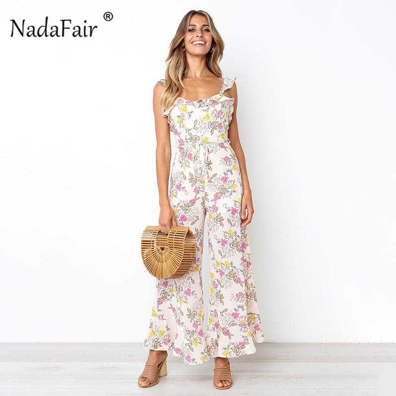e8200f3c7d72 Nadafair chiffon floral print jumpsuits women 2019 summer ruffles backless  sexy wide leg long pants jumpsuit