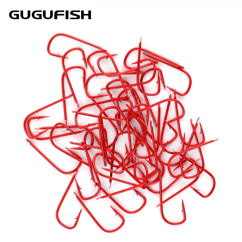 GUGUFISH 100Pcs Kanto Barbless Hooks Fishing Hooks #1-#8 High Carbon Steel Carbon Gold And Red Bait Holder Fish Hook Set