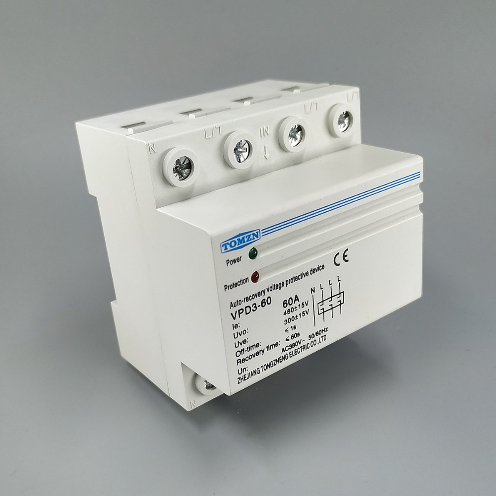 DIN rail voltage relay 380 - 60A 380V~ Three Phase four wire Din rail automatic recovery reconnect over voltage and under voltage protective protection relay