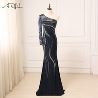 ADLN Evening Dress Long Sparkling 2017 New One Shoulder Women Elegant Crystals Sequin Mermaid Maxi Evening