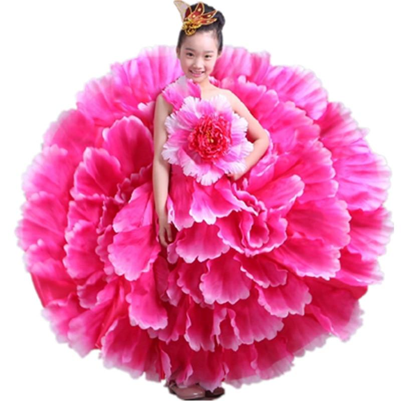 chinese flower dance costumes for girls festival dance costumes for girls chinese new year dance dress kidergarten performance