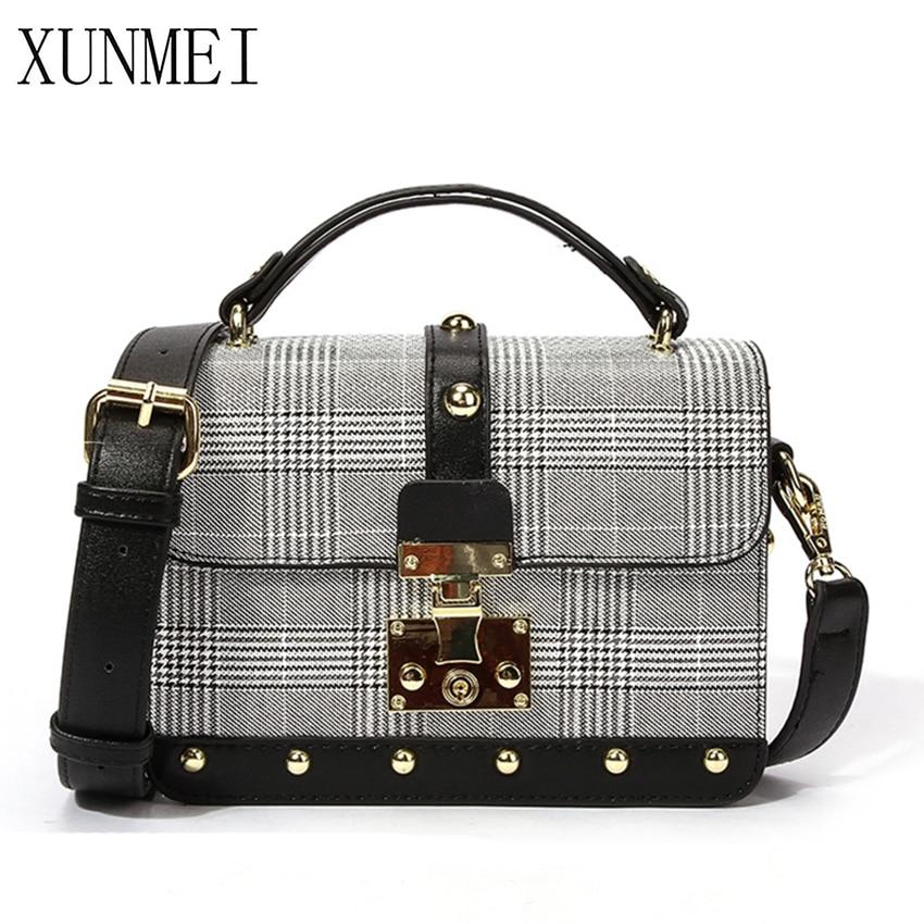 XUNMEI Rivets Women Flap Bags Fashion Women Messenger Bags Small Square Girls Cross Body Shoulder Bags 2019 New Ladies Handbags
