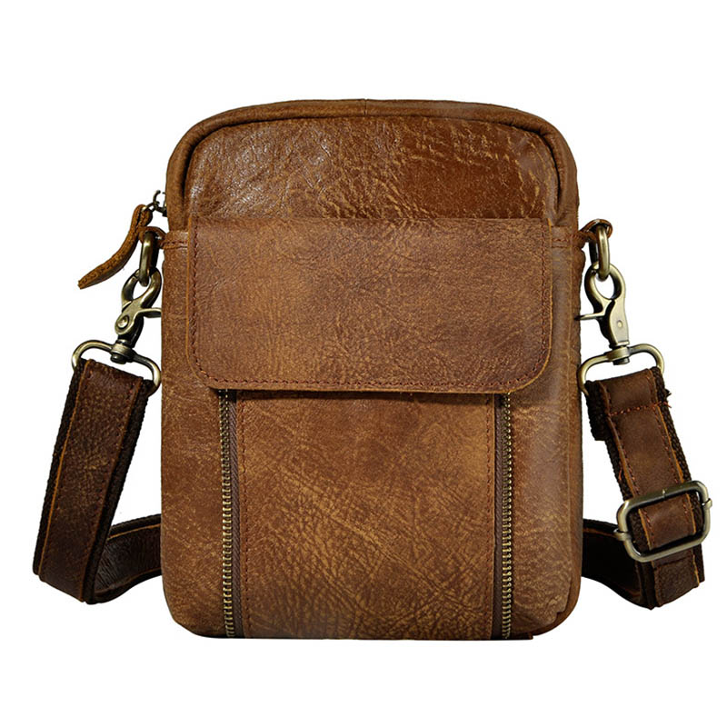 Brand Brown Nubuck Cow Leather Casual Bag Men's Shoulder Messenger Bags Belt Crossing Waist Pack Cell Phone Cover Case new pu leather cell mobile phone case small messenger shoulder cross body belt bag men fanny waist hook pack