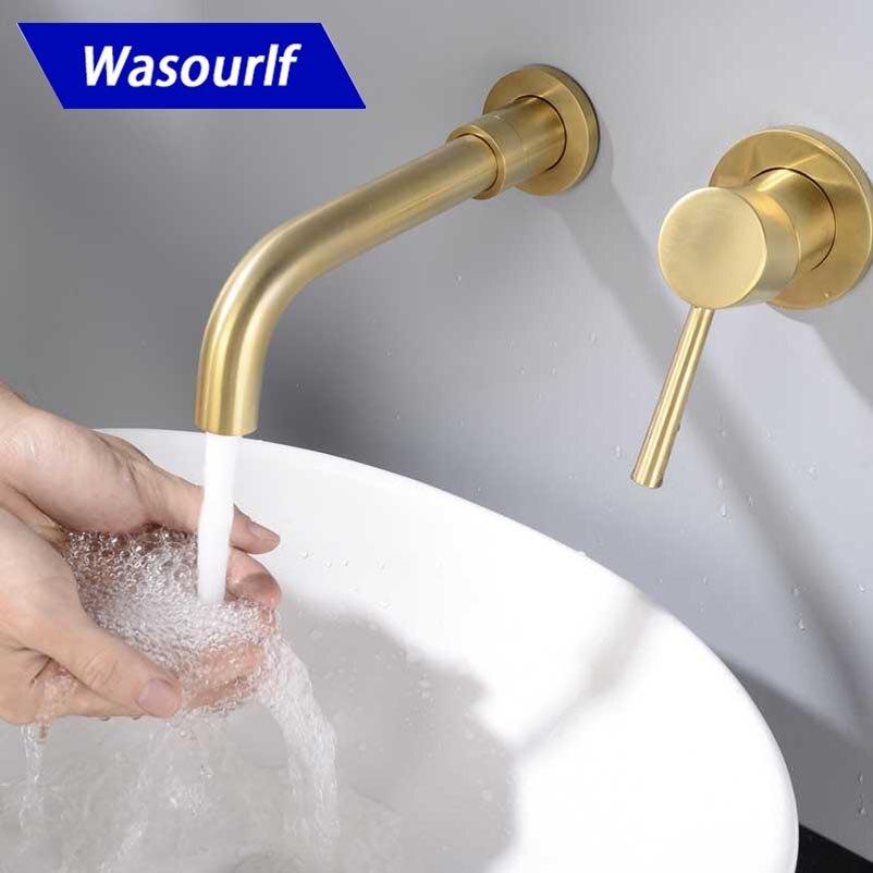 WASOURLF support mural en laiton massif salle de bains couleur or évier robinet chaud et froid mode conception robinet mélangeur cuivre pour hôtel