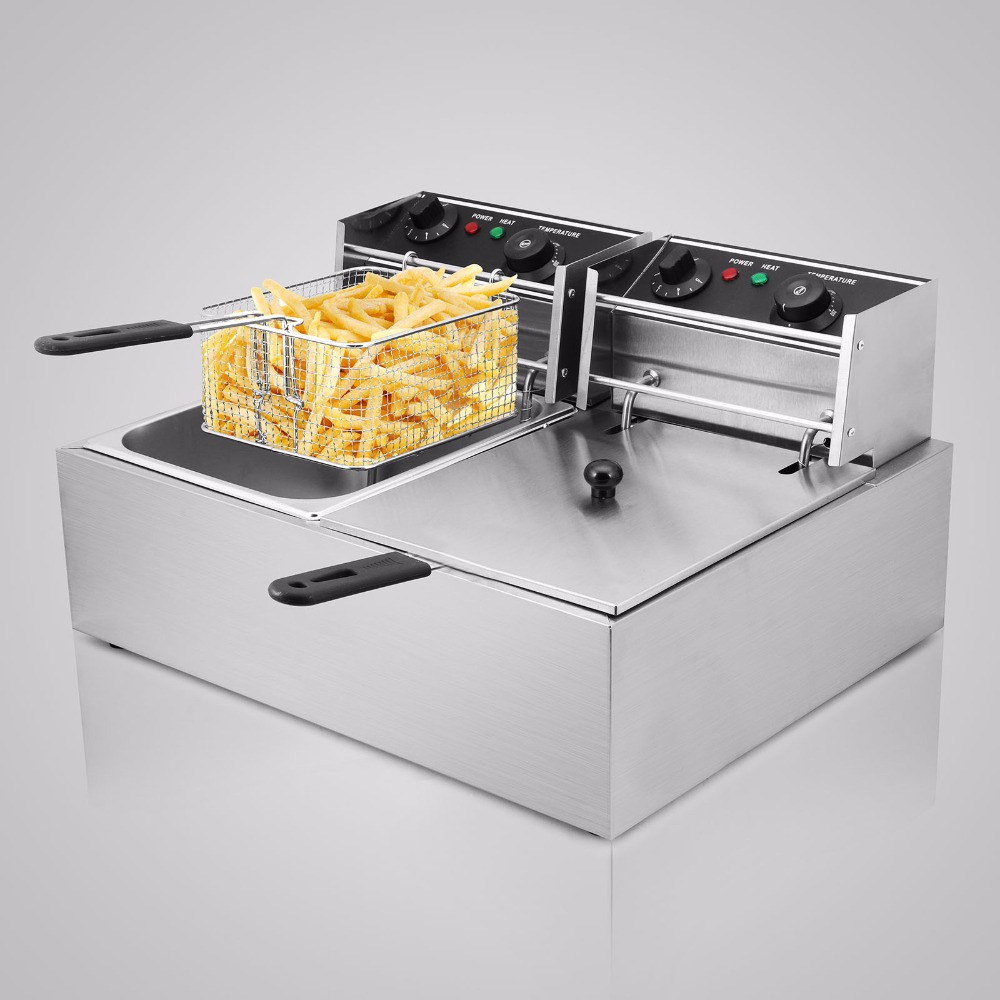 5000W 20L Electric Commercial Deep Fryer Twin Basket Steel Benchtop Food Tool5000W 20L Electric Commercial Deep Fryer Twin Basket Steel Benchtop Food Tool