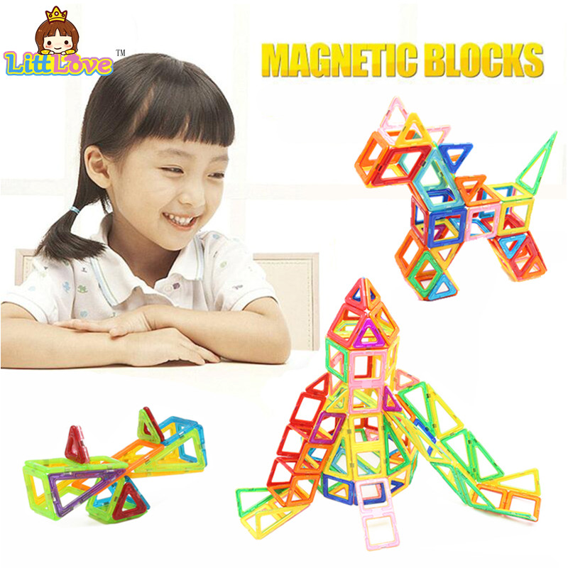 2017 LittLove 38Pcs Magnetic Building Blocks Toys Big Size 3D DIY Learning Educational Bricks Magnetic Kids Toys For Children