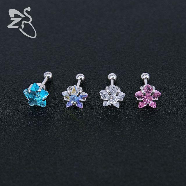 Женские серьги гвоздики из нержавеющей стали с кристаллами