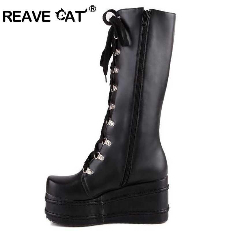 05724bbd6de7b ... REAVE CAT Style Women Black Boots Casual Knee High Wedges Platform High  Heel Boots Punk Gothic ...